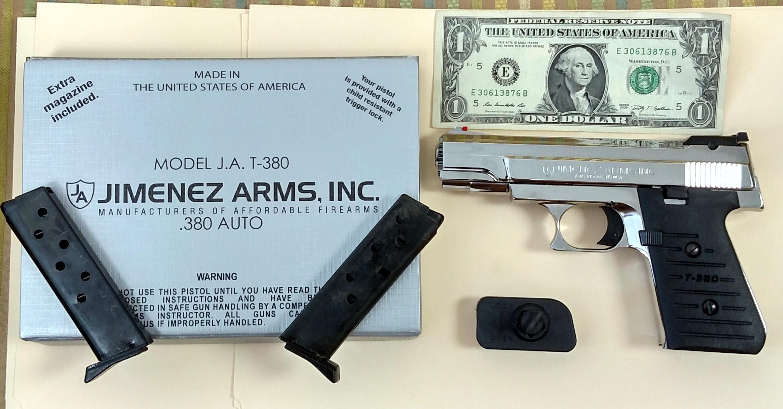 Brand New Beautiful Jimenez Arms T-380 Highly polished Chrome Pistol